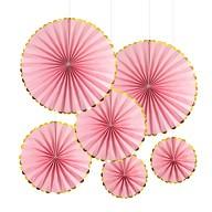 6 Papier Fächer Deko Rosetten Hochzeit JGA Geburtstag Baby Shower Party rosa gold