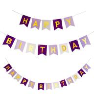Happy Birthday Girlande Banner 2m Kinder Geburtstag Party Deko - lila weiß gold