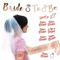 JGA Hochzeit Party Accessoire Set - Bride to be Schärpe Girlande Brautschleier Tattoos