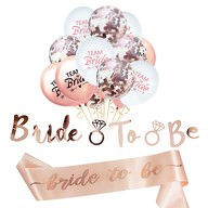 JGA Hochzeit Party Accessoire Set - Bride to be Schärpe Girlande Team Bride Konfetti Ballons
