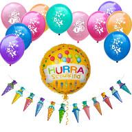 Schuleinführung Schulanfang Einschulung Deko Set - Zuckertüten Girlande Schulkind Luftballon Ballons
