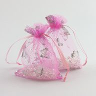 Organzasäckchen Organzabeutel rosa Schmetterlinge versch. Größen