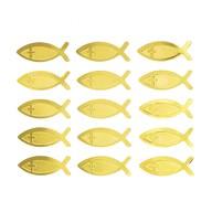 15 Fisch Kreuz Sticker Aufkleber Taufe Kommunion Konfirmation Deko - gold