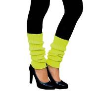 Damen Stulpen Strümpfe 80er Jahre Party Fasching Karneval Aerobic Kostüm Accessoires - neon gelb