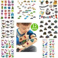 XXL Kinder Tattoo Set 112 Stück für Jungs Dinos Auto Piraten Motive uvm. Spielen Kindergeburtstag