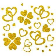 Herz Sticker Set Glitter Glitzernd - gold