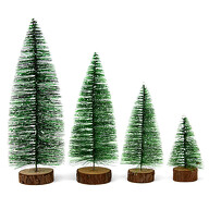 4er Set Tannenbäume mit Schnee Deko Weihnachtsbaum Christbaum Tannenbaum Tanne für Weihnachten