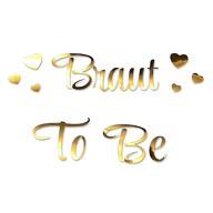 Bügelbild Braut To Be + Herzen für JGA Junggesellinnenabschied Hochzeit - gold