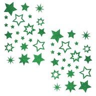 44 Glitzernde Funkelnde Sterne Sticker Aufkleber - grün