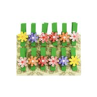 12 Mini Wäscheklammern Holz Miniklammern Deko Klammern -bunte Blumen 2