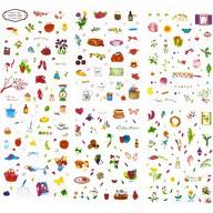 150 Sticker Aufkleber Blumen Backen Küche Deko Kinder Scrapbooking