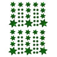 68 Sterne Sticker Aufkleber Glitzernd Funkelnd Weihnachtsdeko Weihnachtssterne - dunkelgrün