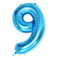 1x Folien Luftballon mit Zahl 9 Kinder Geburtstag Jubiläum Party Deko Ballon blau