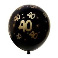 10x Luftballons Zahl 40 Geburtstag Jubiläum Ballons - schwarz gold