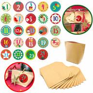 DIY Adventskalender Set - 24 Tüten + 24 Zahlen Sticker Aufkleber für Weihnachten Advent