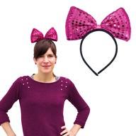 Haarreif Haarreifen große Schleife mit Pailletten pink Minnie Mouse