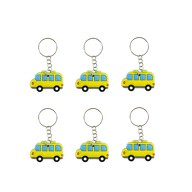 6x Schlüsselanhänger Auto Bus Anhänger Kinder Geburtstag Mitgebsel - gelb