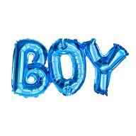 Folien Luftballon Boy Schriftzug Folienballon für Baby Shower Party Geburt Junge - blau
