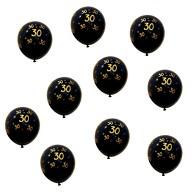 10x Luftballons Zahl 30 Geburtstag Jubiläum Ballons - schwarz gold