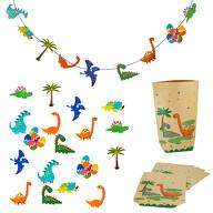 Dino Deko Set Kinder Geburtstag Jungs Kinderzimmer - Dinosaurier Girlande + Geschenktüten + Konfetti
