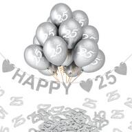 25. Geburtstag Silberhochzeit Deko Set - Happy 25 Girlande + Luftballons Zahl 25 + 25 Konfetti