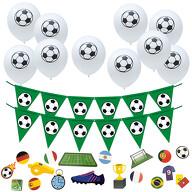 Fußball Deko Set für WM Motto Party Kinder Geburtstag - 10x Ballons + Wimpel Girlande + 18x Konfetti