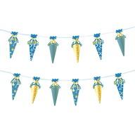 Zuckertüten Girlande Banner Hänge Deko Schuleinführung Schulanfang Einschulung Jungs Junge blau gold