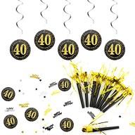 40. Geburtstag Party Feier Deko Set - Tröten + Deckenhänger Wirbel Spiral Girlanden + Konfetti