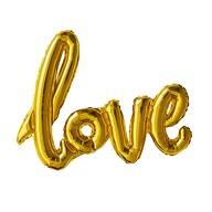 Folien Luftballon Love Schriftzug Folienballon für Hochzeit JGA Hochzeitstag - gold