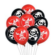 10x Piraten Luftballons mit Totenkopf Ballons Kinder Geburtstag Motto Party Ballons - schwarz rot