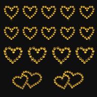 16 Herz Sticker Strass Steine Aufkleber Hochzeit Deko - gelb