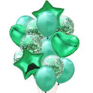 Konfetti Folien Luftballon Set 14 Stk Geburtstag Party Hochzeit JGA - grün