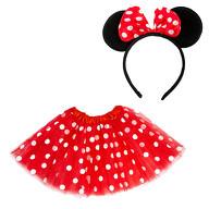 Damen Maus Mouse Kostüm Accessoire Set - Tutu + Haarreifen mit Maus Ohren