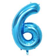 1x Folien Luftballon mit Zahl 6 Kinder Geburtstag Jubiläum Party Deko Ballon blau