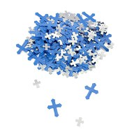 Deko Kreuze Konfetti Streudeko Konfirmation Taufe Kommunion - blau silber