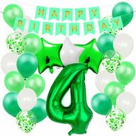 4. Geburtstag Party Deko Set - Happy Birthday Girlande + Zahl 4 Ballon + Konfetti Luftballons + Sterne