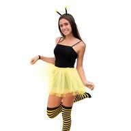 Sexy Biene Kostüm Accessoire Set - Wackel Bommel Haarreif + Ringel Strumpfhose