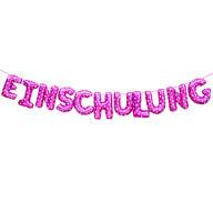 Einschulung Folien Luftballon Girlande für Schuleinführung Schulanfang Pink Herz