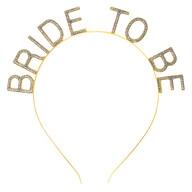 Haarreif Haarreifen Glitzer Schriftzug Bride to be für Braut JGA Junggesellinnenabschied gold