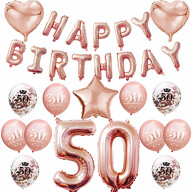 50. Geburtstag Party Deko Set - Happy Birthday + Zahl 50 Ballons + Konfetti Luftballons roségold