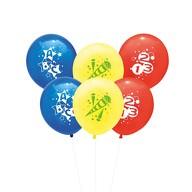 6x Luftballons Schuleinführung Einschulung Schulanfang Deko ABC 123 Zuckertüte - Farbmix