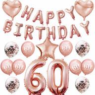 60. Geburtstag Party Deko Set - Happy Birthday + Zahl 60 Ballons + Konfetti Luftballons roségold