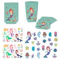 Meerjungfrau Party Kinder Geburtstag Deko Set - Geschenktüten + Tattoos + Konfetti - für Mädchen