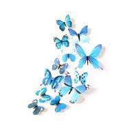 3D Schmetterlinge 12er Set Wandtattoo Wandsticker Wanddeko - Real blau