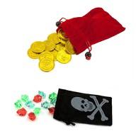 2x Piraten Beutel mit Gold Talern Edelsteine Schatz Sack Säckchen Pirat Kinder Geburtstag