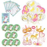 Einhorn Deko Set Kinder Geburtstag Party - Luftballons + Teller + Einladungen + Foto Props