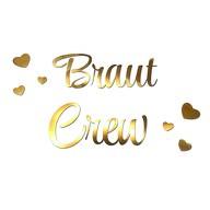 Bügelbild Braut Crew + Herzen für JGA Junggesellinnenabschied Hochzeit - gold