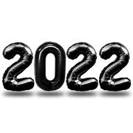 Folien Luftballon Zahl 2022 Silvester Neujahr Party Deko Ballons Zahlenballons - schwarz