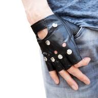 Handschuhe mit Nieten Fingerlos Halbfinger Kunstleder Punk Metal Biker Karneval Fasching Motto Party