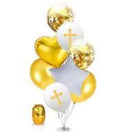 Kreuz Konfetti Folien Luftballon Set 8 Stk. Taufe Kommunion Konfirmation Geburtstag